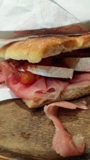 My sandwich consisted of prosciutto, mozzarella and sundries tomatoes!